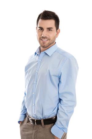 孤立したハンサムな笑顔ビジネス男白で。