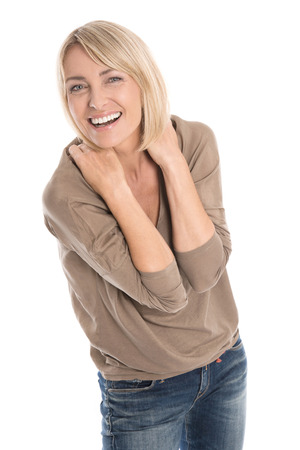 Celebrating and cheering isolated older blond woman with first wrinkles. Stock Photo