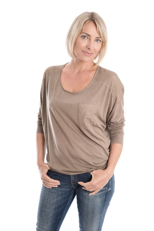 Older attractive woman in the forties wearing blue jeans and shirt.
