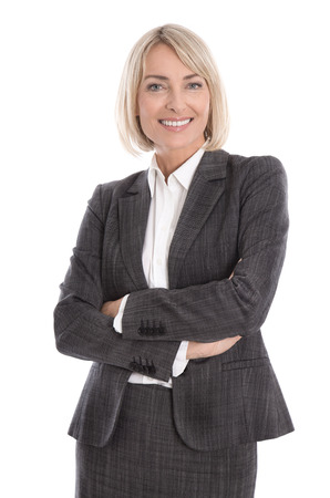Portrait: Beautiful middle aged isolated businesswoman wearing costume and blouse. Stock Photo