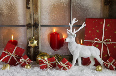 festively: Festively christmas decoration with red gifts and a white reindeer in the snow. Idea for a greeting card or background.