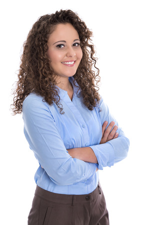 career counseling: Isolated portrait of a young business woman for a candidature or job application. Stock Photo