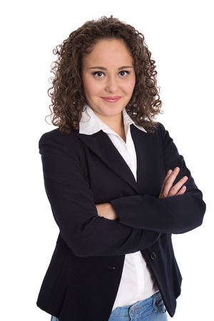 blazer: Portrait photo of a young business woman for a candidature or job application.