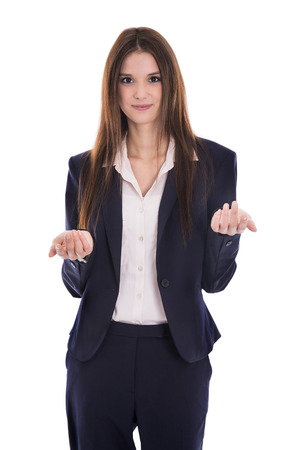 disadvantages: Smiling isolated young business woman explain something with her hands.