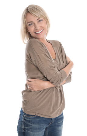 Smiling isolated older blond woman: feel good in second half of ones life. Stock Photo