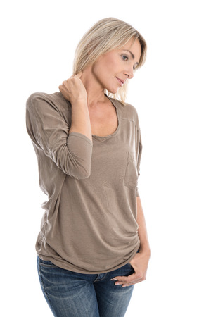 woman neck: Isolated blond woman with neck pain over white. Stock Photo