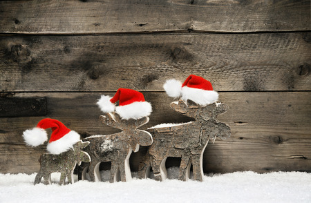 Three reindeer wearing santa hats on brown natural wooden background.