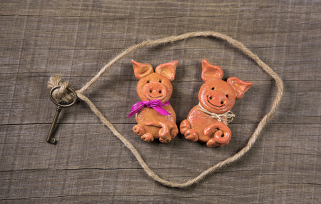 humorously: Funny concept for partnership; pig couple of salt paste for a greeting card: wedding, friendship or valentines day.