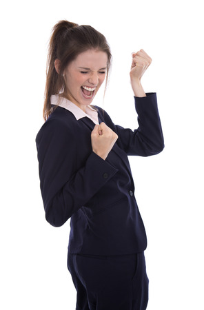 reached: Successful young businesswoman reached aims or is happy to make career in her job cheering over white background with fists.
