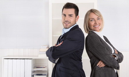 advocates: Professional senior and junior business team in portrait at the office with white background.