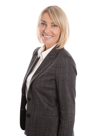 midlife: Successful blond mature businesswoman isolated over white background. Stock Photo