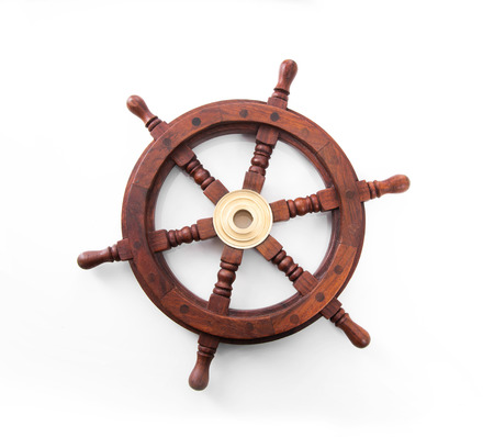 steering: Old boat steering wheel isolated on the white background. Stock Photo