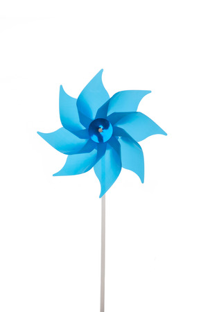 aqua flowers: Blue or turquoise garden windmill isolated over white background. Stock Photo