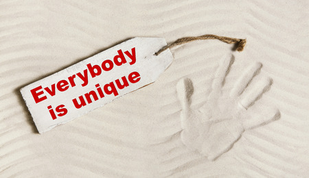 everybody: Everybody is unique: Hand print with text for mental and individual concepts for body, mind and soul or for identification of people.