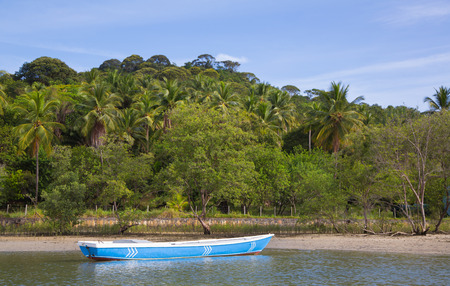 lonesome: Lonesome fishing boat in the amazon of brazil: Rain forest near Salvador in the Bahia de Todos. Landscape with a traditional handmade boat of wood.