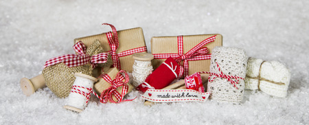 craft material tinker: Handcrafted thinks packed with love in red white checked colors for christmas gifts.