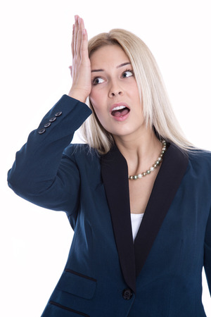 huffy: Shocked and disappointed isolated blond business woman. Stock Photo