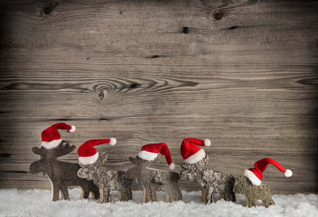 santa moose: Five wooden handmade elk on a background with place for text.