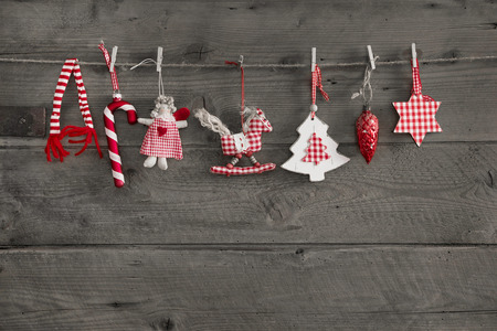 christmas decorations with white background: Red white checked christmas decoration in classical country style.