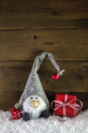 christmas presents: Imp santa with red christmas presents in rustic country style.
