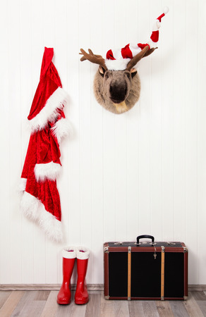 Humorously classical santa christmas decoration background in red and white colors.