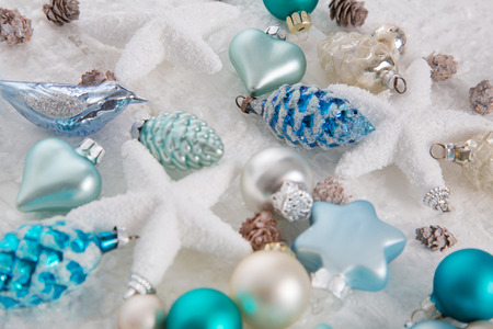 aquamarine: Modern blue, turquoise, brown and white christmas decoration.