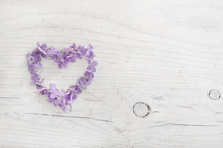 Heart of violet or purple lilac blossom on white shabby wooden background.
