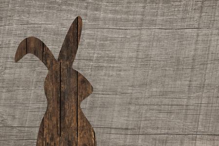 Vieux fond de bois avec un lapin de Pâques pour decoratios. Banque d'images