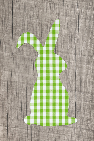 Wooden easter background with an apple green checked bunny.