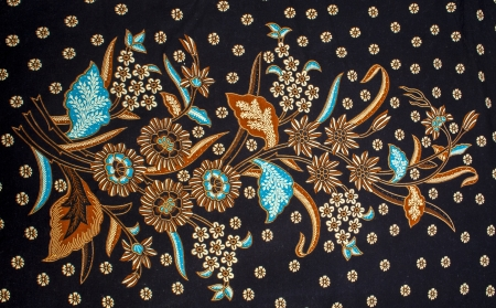 Royalty Free Big Floral Batik Motif on a Black Background.