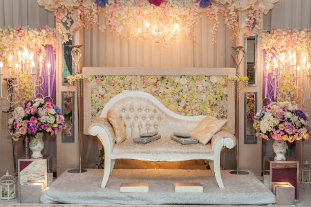 Beautiful Wedding Altar for a Malay Wedding Ceremony 스톡 콘텐츠