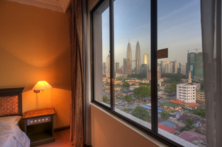 Petronas Twin Towers out the window 에디토리얼