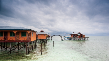 mabul: House on Stilts at Mabul Island, Sabah