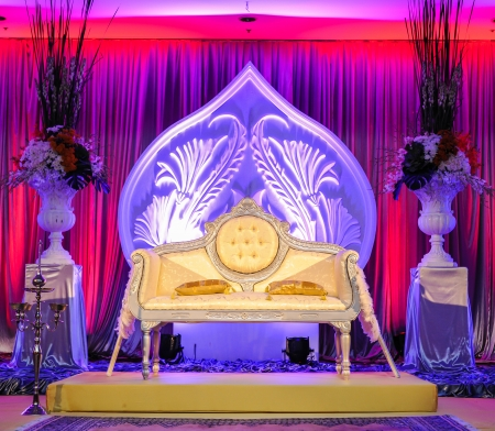 結婚式場の祭壇、マレーの結婚式のコンセプト 写真素材