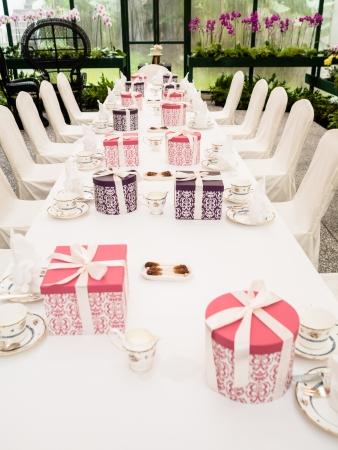 setup: Tea Time Table Setup Stock Photo