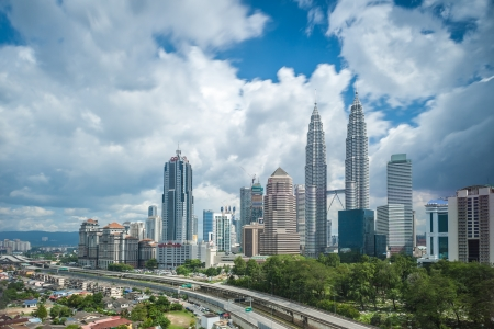 Petronas Twin Towers on a cloudy   blue day