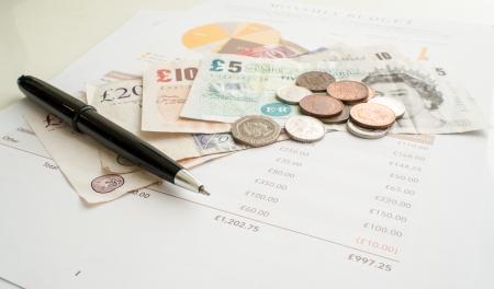 毎月の支出予算、英ポンド 写真素材