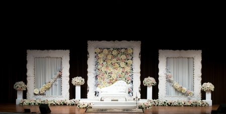 dais: Wedding Dais or Altar on a stage, simple and elegant with white sofa