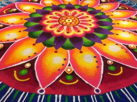 Rangoli or munggu or kolam Diwali floral patterns