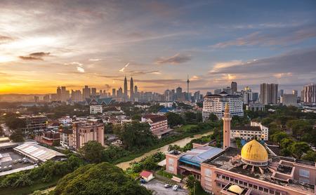 klcc: Kuala Lumpur Cityscape Sunrise Stock Photo