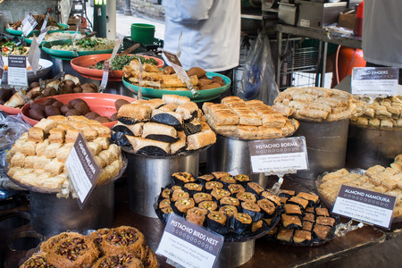 baklawa: Assortment of Middle Eastern Dessert - borma, namoura, baklawa - on display at Borough Market
