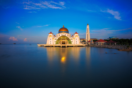 straits: Golden Light on a Mosque - The Straits Mosque, Malacca, Malaysia