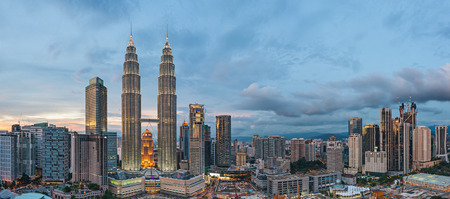 Panoramic View of Petronas Twin Towers, Kuala Lumpur before blue hour