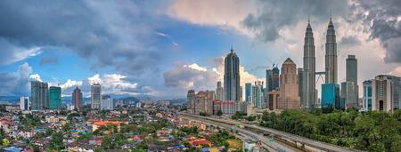 Panoramic of Kuala Lumpur and Petronas Twin Towers during daylight
