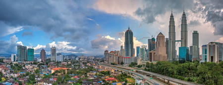 Panoramic of Kuala Lumpur and Petronas Twin Towers during daylight
