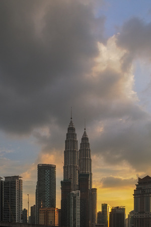 blue hour: Petronas Towers at Sunset and Blue Hour (vertical)