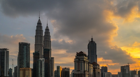 blue hour: Petronas Towers at Sunset and Blue Hour Editorial