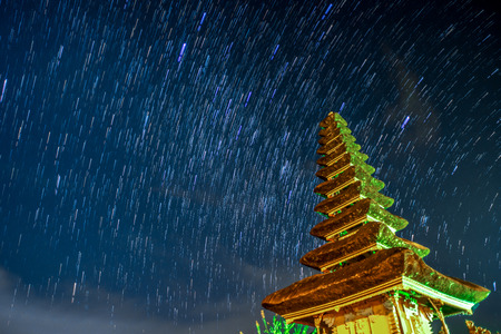 star trail: Star Trail at Pura Ulun Danu Bratan