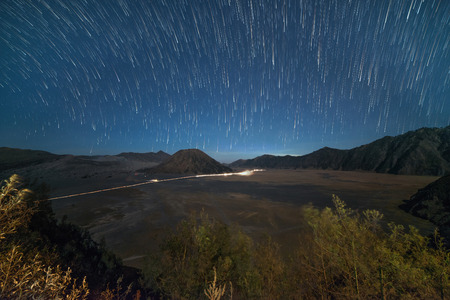 star trail: Star Trail Bromo Tengger Semeru National Park