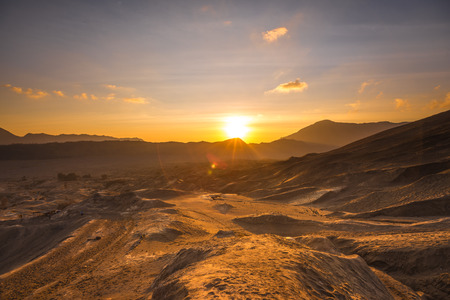 national park: Sunrise at a desert - Bromo Tengger Semeru National Park Stock Photo